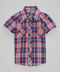 Another great find on #zulily! Red & Navy Plaid Rockabilly Button-Up - Infant, Toddler & Boys by Born to Love #zulilyfinds