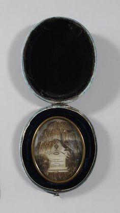 """Mourning picture c.1810 inscribed: """"Triste souvenir d'une soeur cherie."""""""