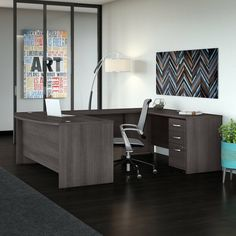 Give your office the workspace you need and the style you deserve with this 2 Piece U-Shaped Desk Office Suite. The extended surface of the bow front desk offers guests a rounded front to pull up a chair and collaborate, while the expansive U shaped configuration has all the room you could ever want to spread out and multitask. With a thermally fused laminate finish, this office set stands up to years of everyday use. Keep pesky computer cords out of your way with a cable management system for Classic Office Furniture, Office Furniture Design, Home Office Design, Furniture Sets, Business Furniture, Furniture Nyc, Furniture Websites, Cheap Furniture, L Shaped Executive Desk