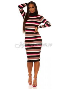 Rochie midi tricotata cu guler pe gat si maneci lungi cu dungi multicolore Crina High Neck Dress, Bodycon Dress, Dresses, Fashion, Horsehair, Tricot, Turtleneck Dress, Vestidos, Moda