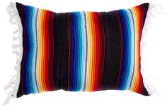 "SERAPE PILLOW BLACK Add some Mexican folk flare to your home with this serape pillow. This handmade pillow features tassels on each side and measures 17"" x 14"" . Made from a cotton acrylic blend. $36.00 #housewares #pillow #serapepillow"