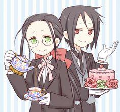 Black Butler - Grell ( Crimson Reverie ) and Sebastian : Chibi Butler >>> Awwww~ So cute~