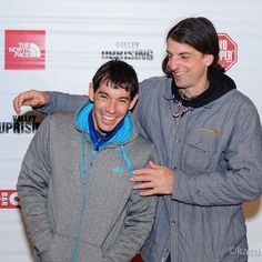 A rare moment between legends. Alex Honnold and Dean Potter.