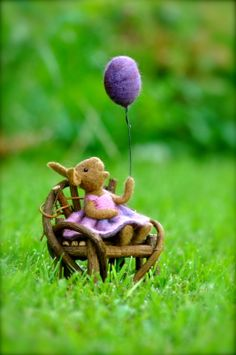 felted bunny! #purple