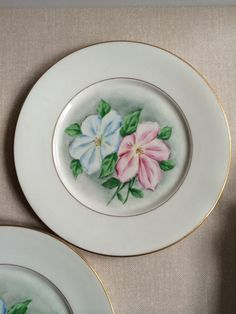 Vintage Hand-Painted Porcelain Plate Set - Belle Fine China | white porcelain with blue pink center flowers gold rims | set of 10 | garden or tea part ... & Antique Haviland Limoges White Porcelain Bowl - Square shape ...