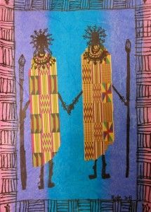 Kenya, & northern Tanzania, Masai Collages (tissue paper background, patterned paper, & Sharpie)