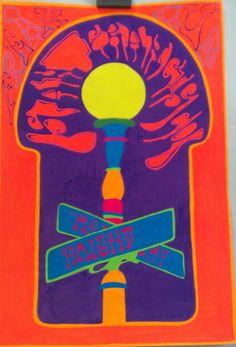 Haight Ashbury orig blacklight dayglo neon psychedelic art 1960s Ruben Guzman   eBay