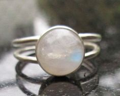 Moonstone Hammered Silver Ring