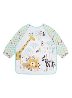 Minimise mess at mealtimes with this safari patterned bib, which features long sleeves and a baby soft fastening. Safari long sleeve bib Long sleeves Safari pattern Baby soft fastening Keep away from fire