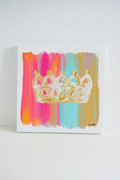 Would be super cute for Lauren's room. 10X10 Golden Crown Canvas by thesmittencollection on Etsy, $25.00