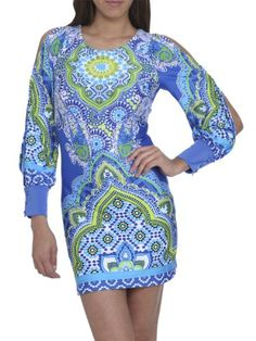 Arden B. Women's Mediterranean Paisley Mini Dress Xs Blue Pattern