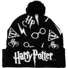 9de500173aa Harry Potter Symbols Pom Beanie Hot Topic ( 9.09) ❤ liked on Polyvore  featuring accessories