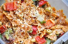 Fresh Tomato & Bell Pepper Pasta Salad -- with homegrown tomatoes and peppers!