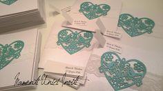 Partecipazione invito con cuore di uccellini e pizzo - tiffany e bianco ottico perlescente - wedding invitation birds heart and lace Alessi, Tiffany, Valentino, Cards Against Humanity