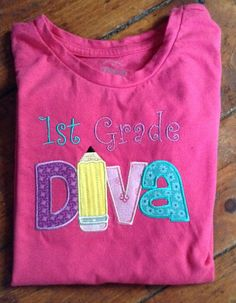 Back to School Diva Appliqued T-shirt by SewingDoodles on Etsy