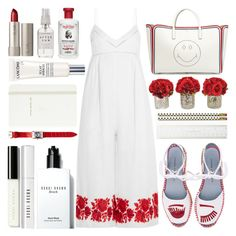 """White and Red Summer"" by barbarela11 ❤ liked on Polyvore featuring Zimmermann, Chiara Ferragni, Franck Muller, Anya Hindmarch, Kate Spade, Bobbi Brown Cosmetics, Lancôme, Ilia and Herbivore"