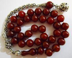 Aging Faturan Amber Bakelite Rosary Prayer Worry Beads Misbaha 9x9mm 925 Tassel   eBay