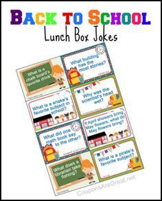 Printable Back to School Lunch Box Jokes using Jokes for Kids - Coupons Are Great