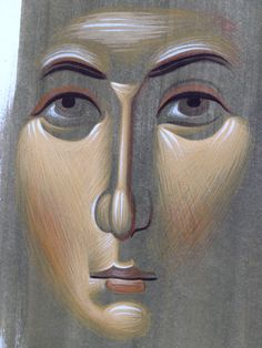 Example of face by Efrem Religious Icons, Religious Art, Religious Images, Byzantine Icons, Byzantine Art, How To Drow, Church Icon, Paint Icon, Religious Paintings