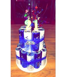 DIY Michelob Ultra beer cake for my friend's 21st! Beer cake, DIY, 21, birthday gift ideas, easy DIY