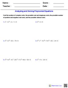 Analyzing and Solving Polynomial Equations Worksheets