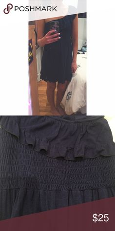 Navy blue one shoulder dress Adorable frill on the top which is really on trend. Elastic around the chest which is really flattering. Tee shirt material. So comfy and cute! Can be dressed up or down ASOS Dresses One Shoulder