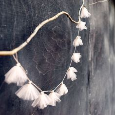 Konfetti | my design harvest: LIVE well  http://www.etsy.com/listing/76471114/flower-tulle-garland-in-powder-pink-home