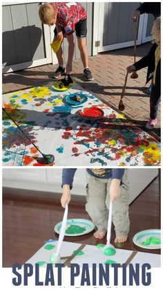 This painting activity gets the whole body involved! It is such a creative way to create! I'll bet you already have all the materials for splat painting at home. This is great for toddlers and preschoolers and older! Kids Crafts, Summer Crafts For Toddlers, Summer Camp Activities, Art Activities For Toddlers, Creative Activities For Kids, Toddler Crafts, Art For Kids, Outdoor Preschool Activities, Preschool Summer Crafts
