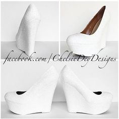 White Glitter Wedges Sparkly Platform Heel Glitzy Wedding Heels Prom... ($80) ❤ liked on Polyvore featuring shoes, pumps, pink, women's shoes, wedge pumps, pink platform pumps, white wedge pumps, high heel pumps and white wedge shoes #heelsprom