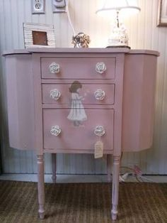 Handpainted antique sewing table for girl's room $135 at Antiques With A Twist, Charlotte, NC 704-819-2998