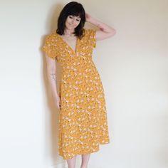Midi Dress Yellow V Neck Floral