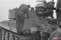 German Tiger engine change in the field. The Tunisian campaign, November 1942 - May 1943.