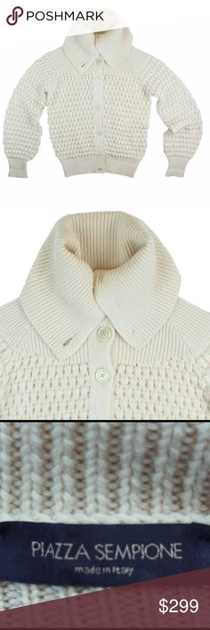 """PIAZZA SEMPIONE Ivory Virgin Wool Popcorn Cardigan Mint condition! Retails for 1295.00. This gorgeous popcorn chunky knit cardigan sweater from PIAZZA SEMPIONE features button closures and a collared neckline. Ribbed trim at collar and cuffs. Made of 100% pure virgin wool. It is a Italian size 42 - approx a size L, but please check your measurements. Measures: Bust: 41"""", Total Length: 25"""", sleeves: 26"""" Piazza Sempione  Sweaters Cardigans"""
