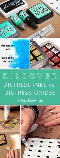 Discover the differences between Distress Inks vs. Distress Oxides #tim_holtz #scrapbookcom #scrapbook #scrapbooking #cardmaking #stamping #learncrafting #lifehandmade #scrapbookdotcom #sbcinspired