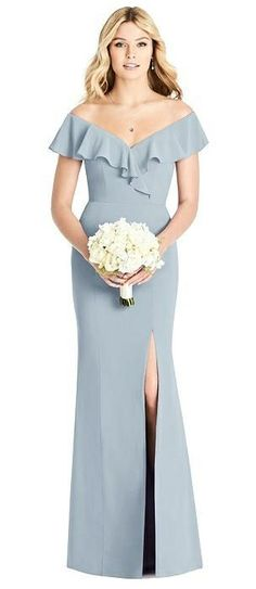 Off-the-Shoulder Draped Ruffle Faux Wrap Trumpet Gown #bridesmaiddressesideas #ad #weddingbridesmaiddresses #bridesmaidsdresses Bridesmaid Dresses Different Colors, Navy Blue Bridesmaid Dresses, Mermaid Bridesmaid Dresses, Prom Dresses, Wedding Guest Gowns, Wedding Bouquets, Bridesmaid Inspiration, Wedding Inspiration, Group
