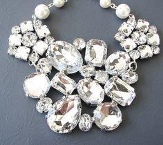 Bridal Jewelry Wedding Rhinestone Necklace Bridal Wedding Jewelry Statement Necklace Silver Jewelry. $52.00, via Etsy.
