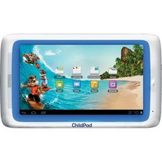 """Archos ChildPad 7"""" Android Tablet for Kids. Enjoy a selection of pre-installed applications for kids ready to use straight out of the box. You can also access a large choice of the Kids App Store directly from the AppsLib application store: games, puzzles, e-reader books ... a world of apps is open to you. And thanks to the AppsLib approved stamp, you can know which apps will work great on your ChildPad."""