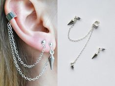 Heart Shaped Diamond Stud Earrings, Raw Diamond and Gold Fill Jewelry, Aries Zodiac Birthday Gift, April Birthstone Earrings, Rough Gems - Fine Jewelry Ideas Ear Jewelry, Cute Jewelry, Body Jewelry, Silver Jewelry, Silver Ring, Chain Jewelry, Cuff Earrings, Cartilage Earrings, Small Earrings