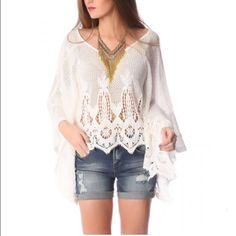 Crochet Lace Poncho Beautiful Poncho that screams girlie girl  Tops