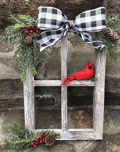 Window Decorations for Christmas : Farmhouse Christmas Decor Christmas Decorated Window Pane Winter Window Pane Decor Christmas Window Frame Rustic Wooden Window PaneHandcrafted, heavy barnwood four pane window frame piece is dressed for the holidays Christmas Projects, Holiday Crafts, Christmas Ideas, Elegant Christmas, Beautiful Christmas, Christmas Decorating Ideas, Christmas Quotes, Wooden Christmas Crafts, Christmas Pictures
