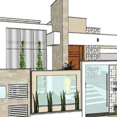 Nenhuma descrição de foto disponível. Contemporary Front Doors, Bungalow Interiors, Front Door Entrance, Modelos 3d, Modern House Design, Future House, Floor Plans, Exterior, Interior Design