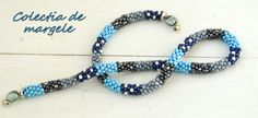 Snowy winter scarf - crochet beading necklace by Colectia de margele bow knot  www.colectiademargele.ro