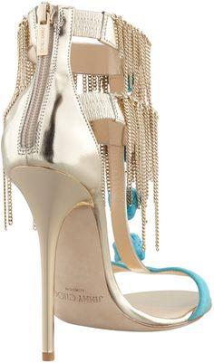 Jimmy Choo Belle Chainfringe Tstrap Sandal