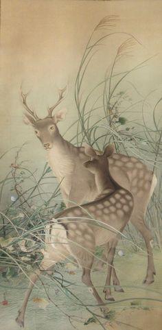 "Antique Japanese Large Scroll Painting of Deer; Signed ""Toko"" Tsuchinoto (boar) Aki. Taisho period circa 1920's"
