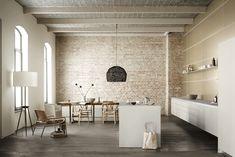 bulthaup - b3 keuken - open ruimte - monoblock kookeiland - materialen < alpine wit laminaat > < zandgrijs aluminium >