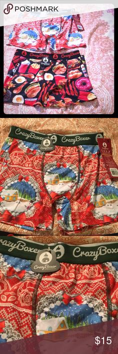 2 silky fun boxer briefs New with tags. CRAZY BOXER brand. Special ugly underwear collection that's Christmas / winter themed. The other has fun foods all over it!!! Great as a gift. Super silky and soft. crazy boxer Underwear & Socks Boxer Briefs