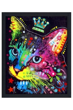 Dean Russo Thinking Cat Crowned, Framed Canvas - Beyond the Rack