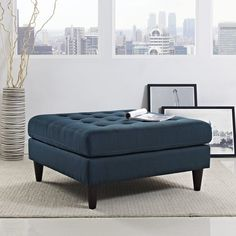 Empress Upholstered Fabric Large Ottoman in Azure - Lifestyle Blue Ottoman, Contemporary Modern Furniture, Storage Ottoman, Upholstered Fabric, Rectangle Storage, Ottoman, Modway, Furniture, Large Ottoman