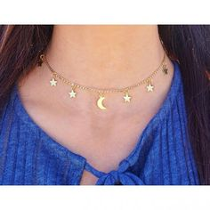 Newest addition to our Celestial Series! Our handmade gold lunar celestial choker (also available in silver) is elegant and simple, regardless of whether you ch