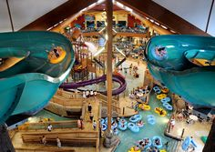 The Klondike Kavern at Wilderness Territory Waterpark Resort in the Wisconsin Dells. Other marquee attractions include The Hurricane family raft ride and the five-foot swells of the Great Wave.  (Courtesy Wilderness Territory) From: Top 10 Indoor Water Parks in the U.S.